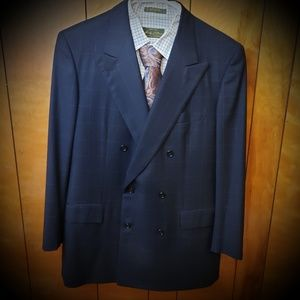 Brioni Navy Blue Window Pane Suit 40 Regular